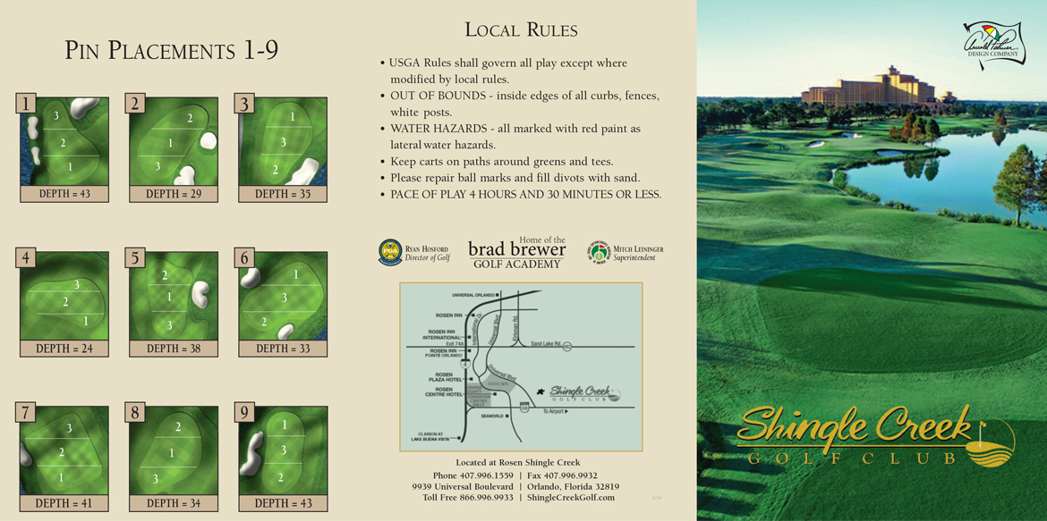 Shingle Creek Golf Club Sample Scorecard Front View